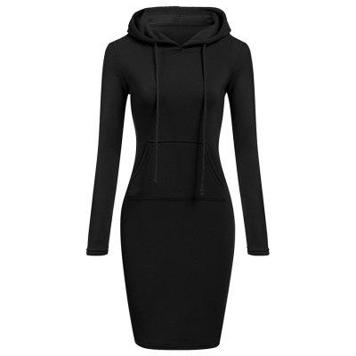 Hooded Hoodie Dress For Women 2018 Autumn Winter Fleece Solid Hoodies With Pocke