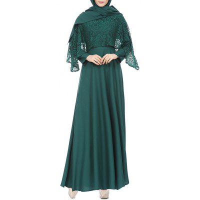 Solid Color Lace Schal langes Kleid