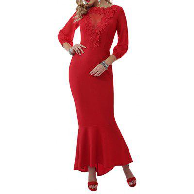 2019 New Sexy Party Ladies Long-Sleeved Lace Tight Elegant Long Dress