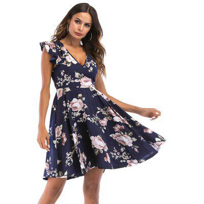 Women's Deep V-neck Ruffle Sleeve Print Back Hollow Bandage Big Swing Dress