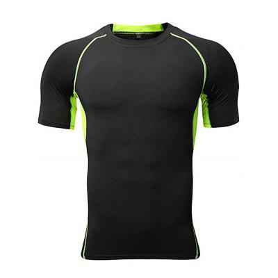Men'S Tight-Fitting High-Elastic Wicking and Quick-Drying Fitness Short-Sleeved