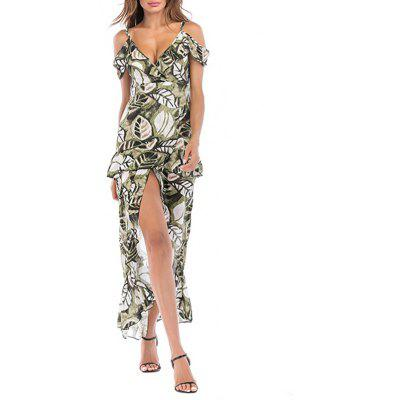 Ladies Beach and Night Out Dress Irregular Sling Dress Colorful Butterfly Dress