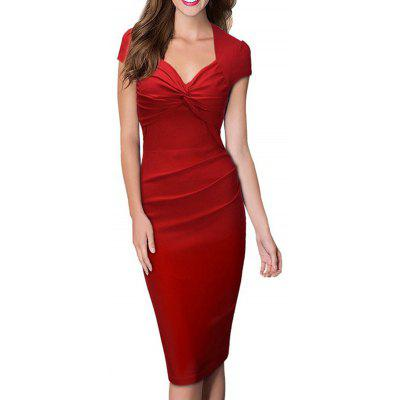 Frauen Sweet Heart Solid Color Flügelärmeln Plain Plissee Slim Pencil Dress