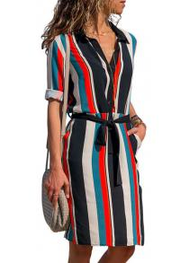0276dd64d8b Midi-Dress. 2019 Boho Beach Dresses Striped Print A-Line Mini Dress
