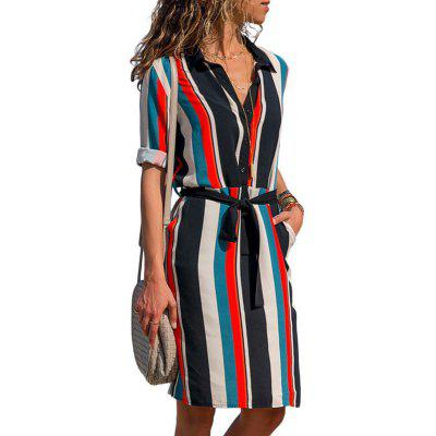 2019 Boho Beach Dresses Striped Print A-Line Mini Dress