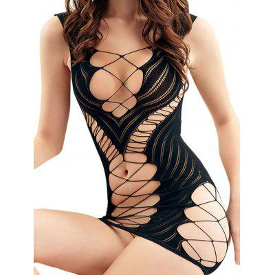 LC21940 Sexy Midnight Fishnet Chemise Item