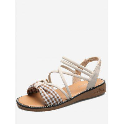 Bowknot Plaid Design Sandals