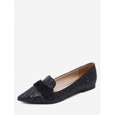 Gradient Sequined Pointed Toe Bow Flats