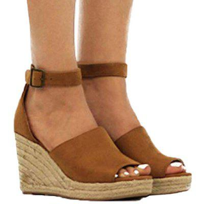 Women's Summer Wedge Peep Toe Solid Color Sandals Pin Buckle