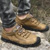 Men's Hand Stitching Casual Lace-up Shoes Soft Bottom - TAN