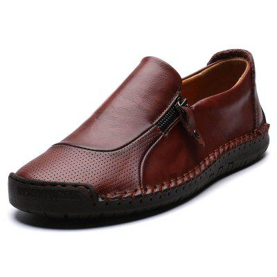 Men  's segundo andar vaca pele costura costura respirável Casual sapatos Soft Outsole