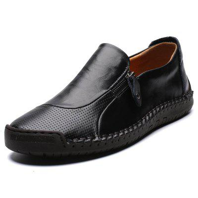 Men's Second Floor Cow Skin Hand Stitching Breathable Casual Shoes Soft Outsole