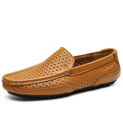 Plus Size Hollow Leather Perforated Peas Shoes for Men