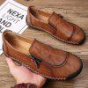 Men's Second Floor Cow Skin Hand Stitching Breathable Casual Shoes Soft Outsole - SANDY BROWN