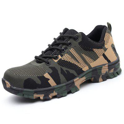 Flying Woven Camouflage Steel Head Tamper-Proof Breathable Protective Shoes