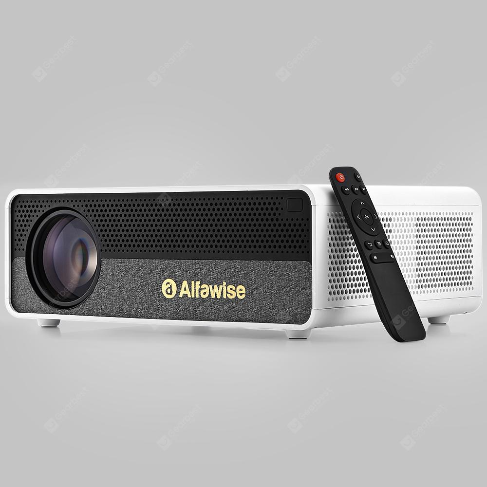 Alfawise Q9 BD1080P HD 4K Smart Home Projector with 40 - 300 inch Mirroring Screen High Brightness - White Basic