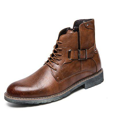 AILADUN Men's High-top Microfiber Leather Boots Casual British Style Lace Up + Pin Buckle