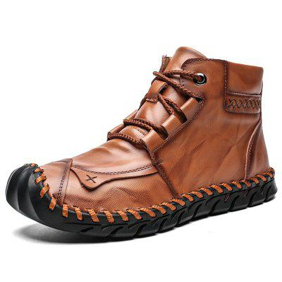SENBAO Men's Autumn Winter Lace Up Mid-high Boots Hand-stitching Cowskin Flat Shoes Easy-match