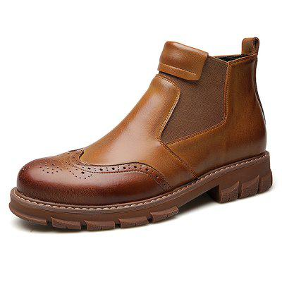 AILADUN Men Breathable Thick Bottom Short Boots Casual British Style Holes Shoes