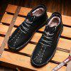 SENBAO Men's Business Solid Color Mid-high Shoes Fashion Lace-up Footwear Keep Warm - BLACK