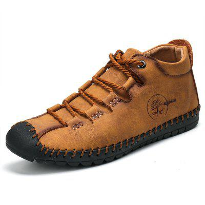 gearbest.com - SENBAO Men Solid Color Retro Lace-up Short Boots Anti-collision Toe Fashion Microfiber Leather Shoes