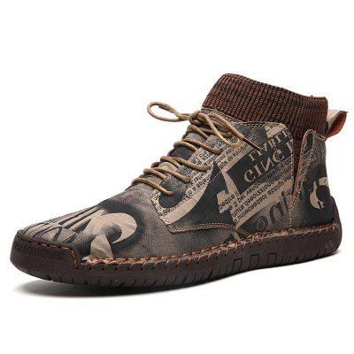 Men's Retro Print Casual Shoes Durable Lace Up Shoes