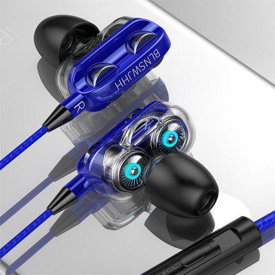 A4 Extreme Edition Dual Speaker Wired Headphone Sports Stereo Earphone with Mic