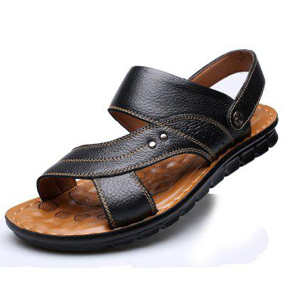 Summer Mens Simple Personality Sandals Casual Fashion Slippers Leather Beach Shoes