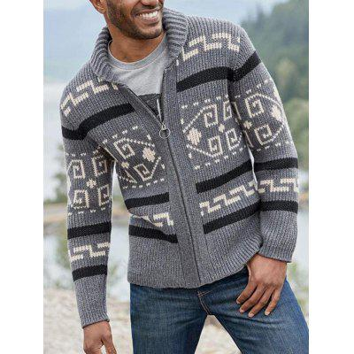 SY0013 Autumn and Winter Fashion Lapel Casual Mens Cardigan Long Sleeve Slim Jacquard Knit Sweater