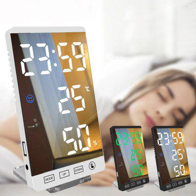 6 inch LED Mirror Alarm Clock Touch Button Wall Digital Time Temperature Humidity Display USB Output Port Table