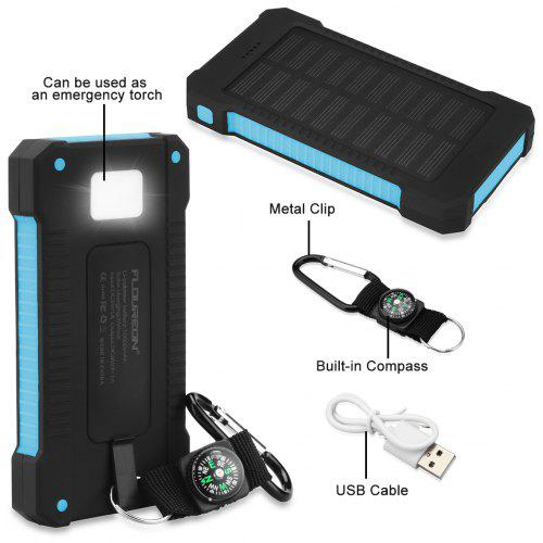 Gearbest Floureon D1000 10000mAh Solar Power Bank - BLUE