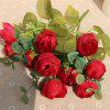XM1 10Heads Red Tea Rose Home Decoration Artificial Flowers - RED