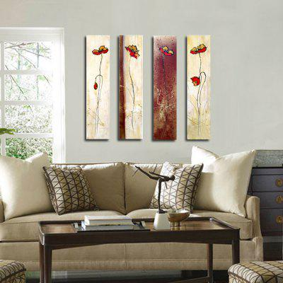ART Larger Hand Painted Abstract Flower Oil Paintings for Living Room Wall Art  36X48 Inch Four Panels