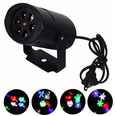 Youoklight 1PCS 4W Rgbw Ac85 - 265V Christmas Lighting Decoration Led Snowflake Projector 4 Pattern Lens Halloween Lighting Dj Ktv Bar Rotating Stage Light Bulbr
