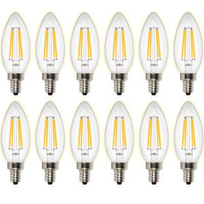 Supli 12 Pcs E14 Led Filament Bulbs C35 4 Cob 400 Lm Warm White Decorative Ac 220 - 240