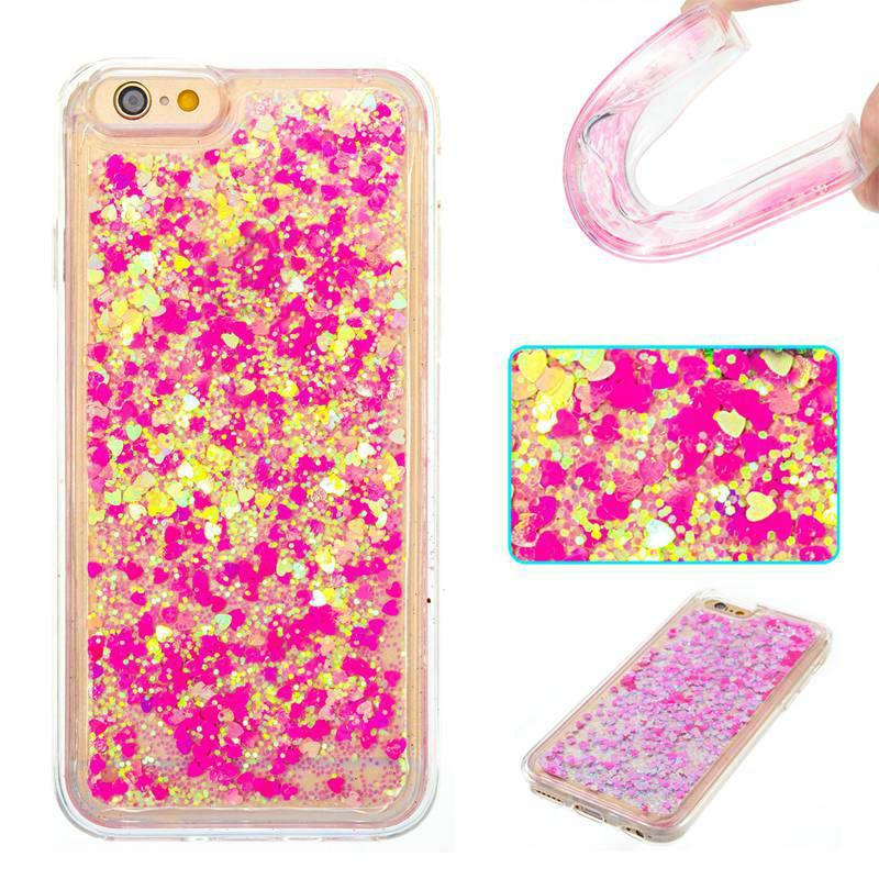 Full Pink Little Love All Soft Tpu Quicksand Phone Case for Iphone 6S 6