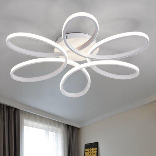 EverFlower Modern Simple Floral Shape LED Semi Flush Mount Ceiling Light With Max 75W Painted Finish – WHITE LIGHT EU AC220-240 227193201