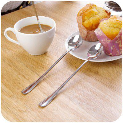 2PCS Double Metal Stir Spoon for Coffee Salad Dinner