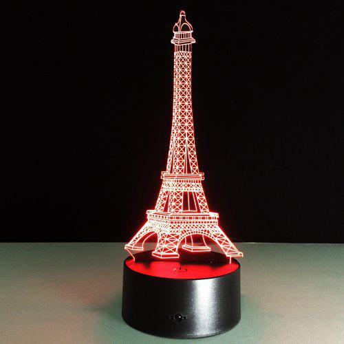 Yeduo Romantic France Eiffel Tower 3D Led Night Light Rgb Changeable Mood  Lamp Usb Decorative Table Lamp Kids Friends Gift