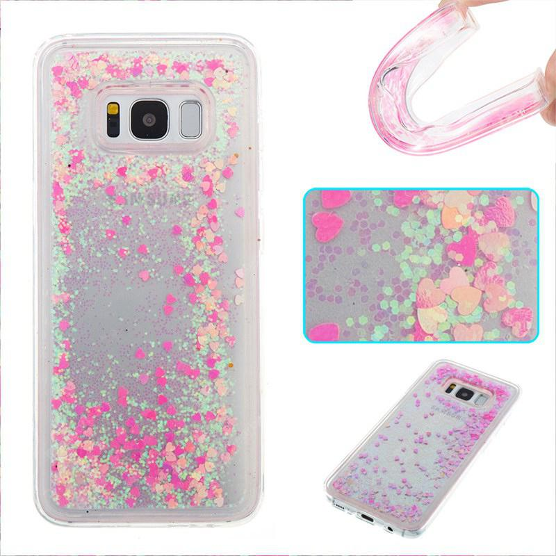 Full Pink Little Love All Soft Tpu Quicksand étui pour Samsung Galaxy S8