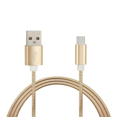 3.4A Stainless Steel Spring Quick Charge Type-C USB 3.1 Charging Cable with High-Speed Data Transmission