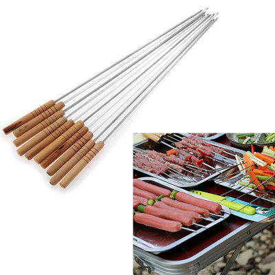 Metal Barbecue Skewer Wooden Handle 10PCs