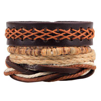 4 Pcs Vintage Leather Anchor Bracelet Hand-Woven Diy Bracelet
