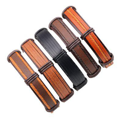 Punk Style Vintage Leather Bracelet Male 5 Pcs