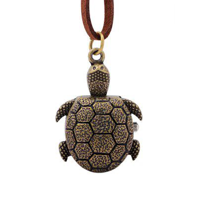 Bronze Cartoon Cute Tortoise Pocket Watch