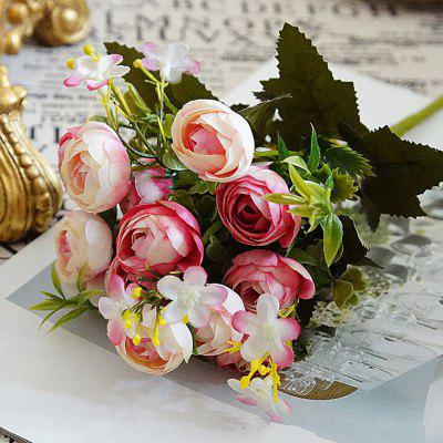 XM 10 Heads Silk Tea Rose Home Decoration Artificial Flower 30CM