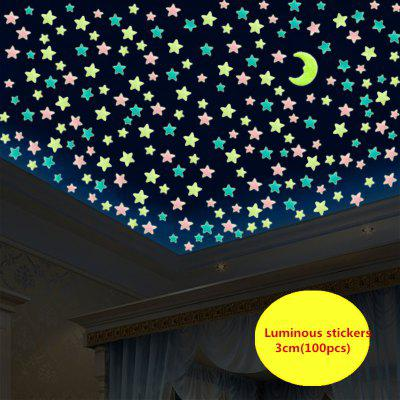 WS 100Pcs Lovely Luminous Stars Pegatinas de Pared Home Glow In The Dark para Niños Decoración Fluorescente