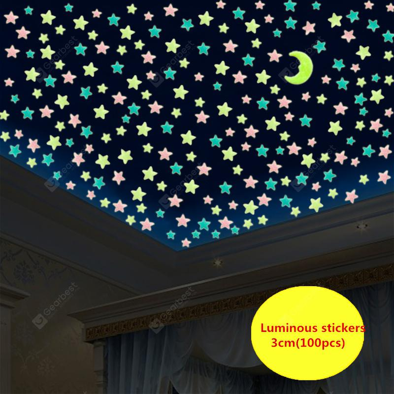 WS 100Pcs Lovely Luminous Stars Wall Stickers Home Glow In The Dark  for Kids Fluorescent Decoration | Gearbest