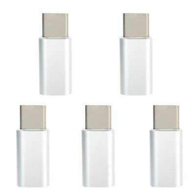 Mini Smile 5PCS Aluminium Alloy USB 3.1 Type-C To Micro USB Data Sync Charging Adapters Converters