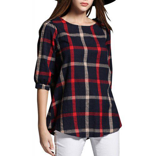 265f13d44ab Plus Size Half Sleeve Plaid T-Shirt for Women Top - Rs0.00 Fast ...